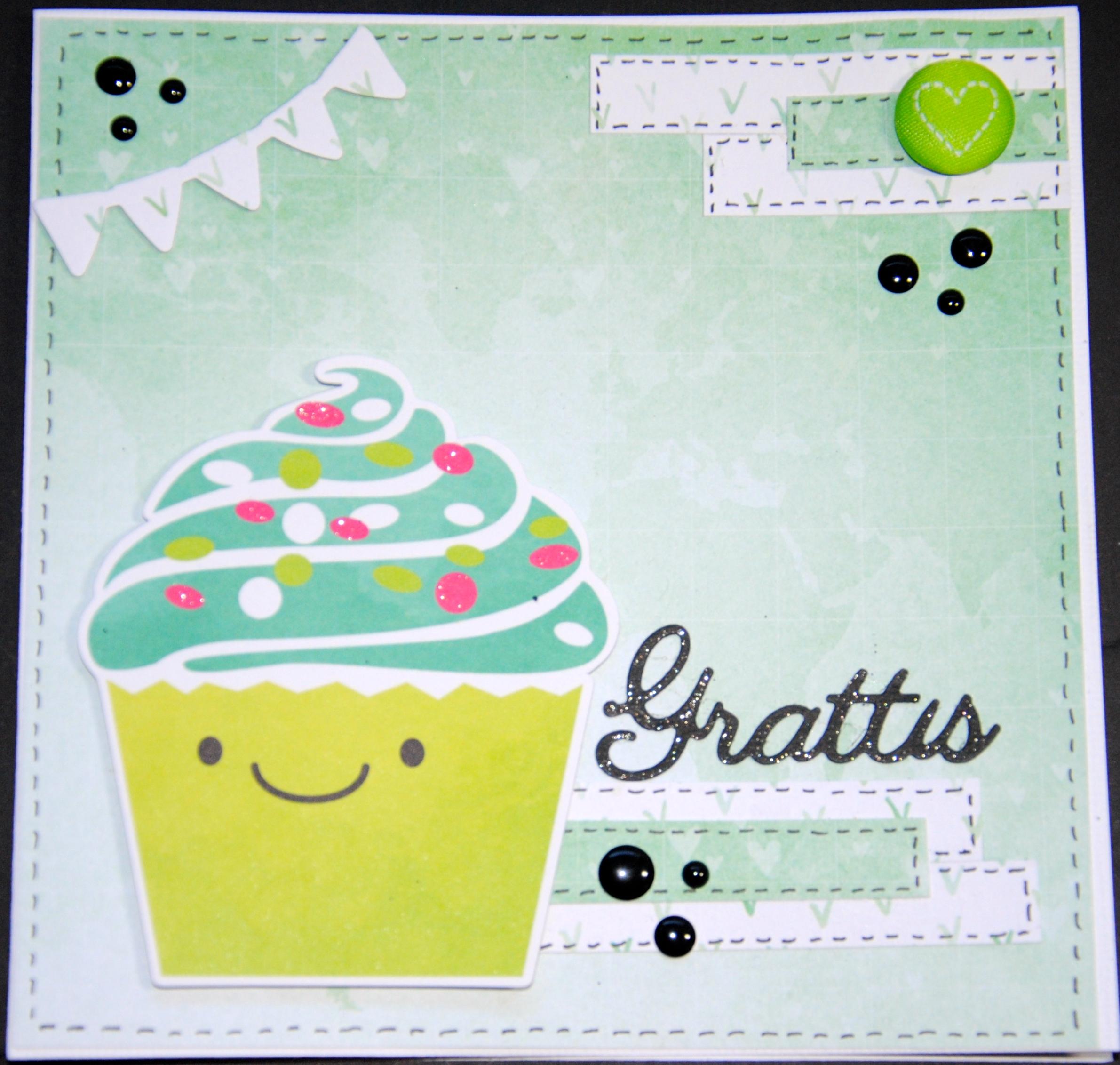 göra egna grattiskort Grattiskort med Cupcake | göra egna grattiskort